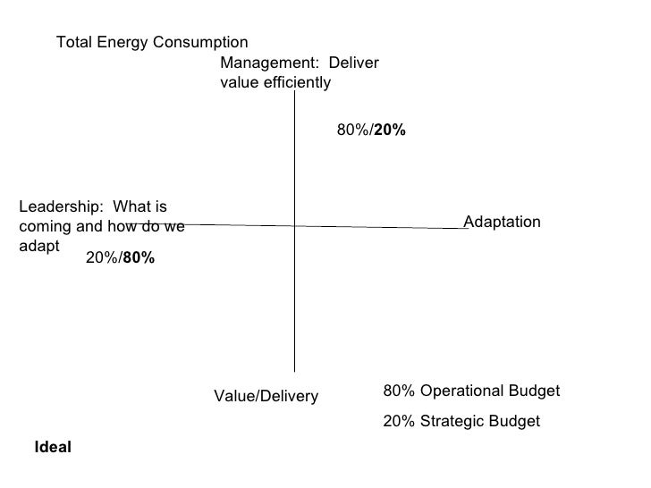 Management:  Deliver value efficiently Adaptation Value/Delivery Leadership:  What is coming and how do we adapt 80%/ 20% ...