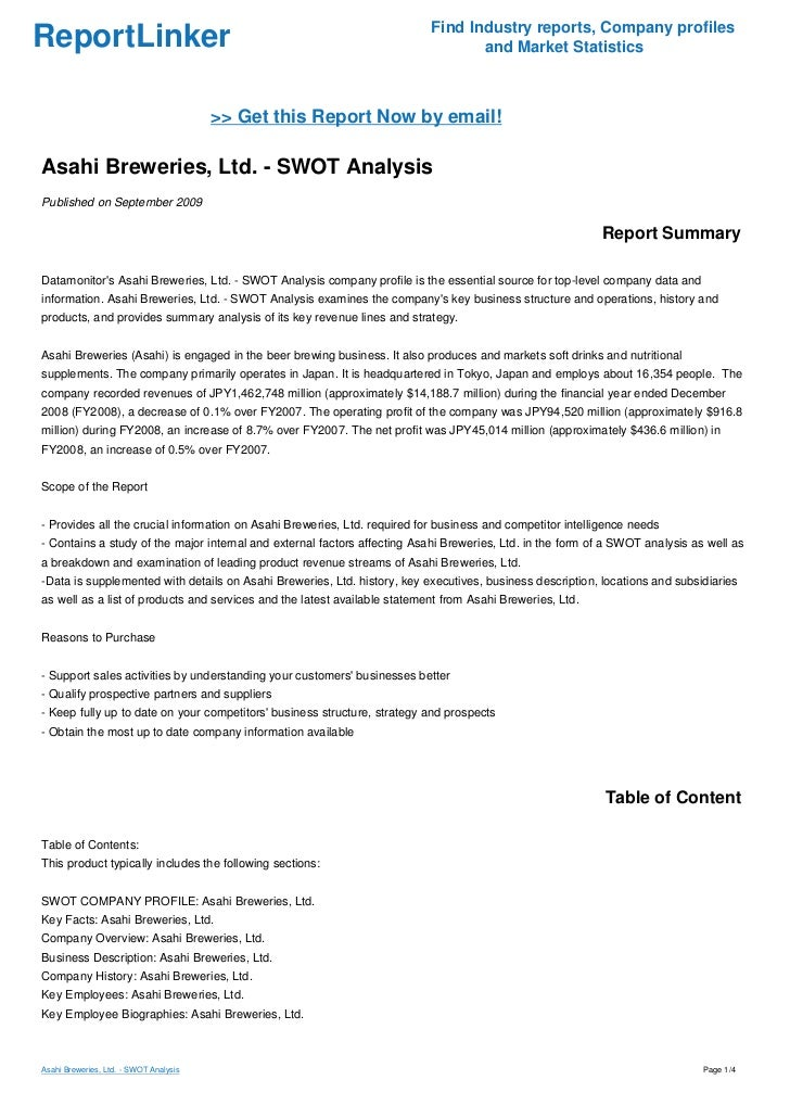 Asahi Breweries Ltd. Case Solution ... - Harvard Case Studies