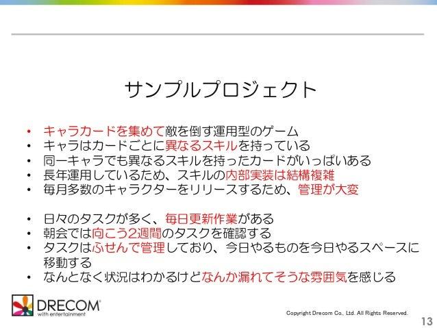 Copyright Drecom Co., Ltd. All Rights Reserved. 13 サンプルプロジェクト • キャラカードを集めて敵を倒す運用型のゲーム • キャラはカードごとに異なるスキルを持っている • 同一キャラでも異な...