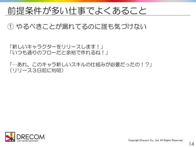 Copyright Drecom Co., Ltd. All Rights Reserved. 14 前提条件が多い仕事でよくあること ① やるべきことが漏れてるのに誰も気づけない 「新しいキャラクターをリリースします!」 「いつも通りのフロー...