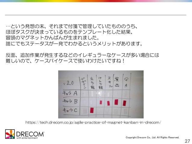 Copyright Drecom Co., Ltd. All Rights Reserved. 27 https://tech.drecom.co.jp/agile-practice-of-magnet-kanban-in-drecom/ …と...
