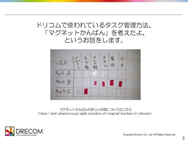 Copyright Drecom Co., Ltd. All Rights Reserved. 5 ドリコムで使われているタスク管理方法、 「マグネットかんばん」を考えたよ、 というお話をします。 マグネットかんばんの詳しい内容についてはこちら...