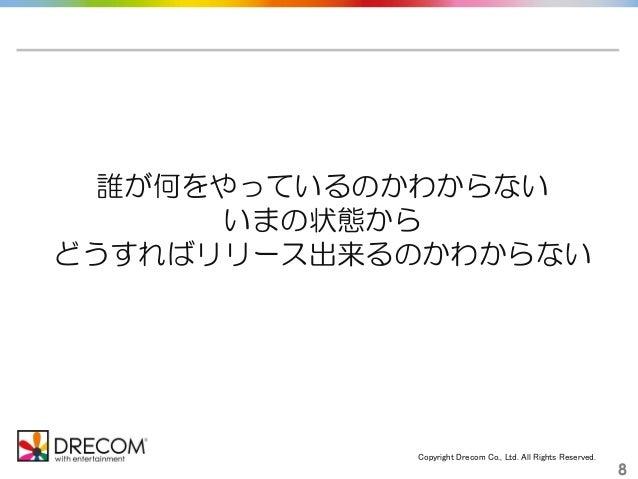 Copyright Drecom Co., Ltd. All Rights Reserved. 8 誰が何をやっているのかわからない いまの状態から どうすればリリース出来るのかわからない