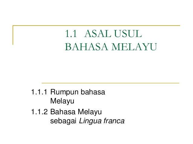 Asal Usu Bahasa Melayu