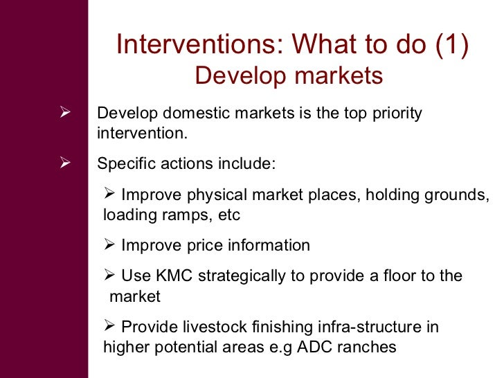 Interventions: What to do (1)                  Develop markets    Develop domestic markets is the top priority     interv...