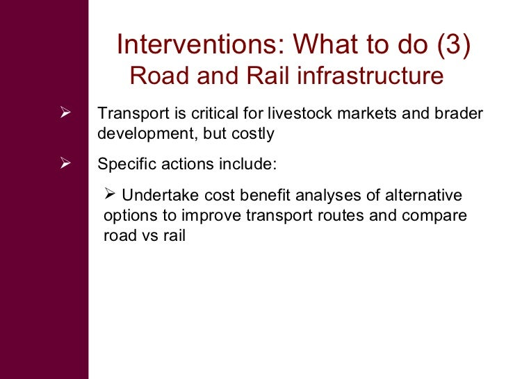 Interventions: What to do (3)         Road and Rail infrastructure    Transport is critical for livestock markets and bra...