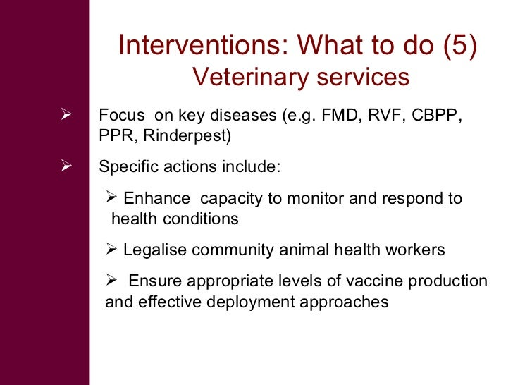 Interventions: What to do (5)                 Veterinary services    Focus on key diseases (e.g. FMD, RVF, CBPP,     PPR,...