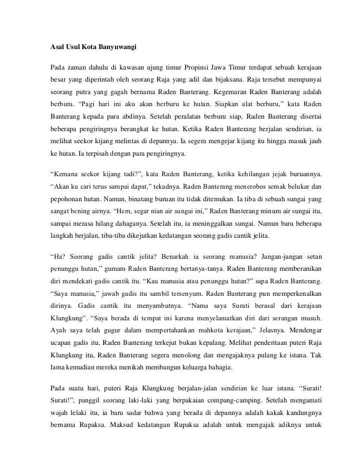Asal Usul Kota BanyuwangiPada zaman dahulu di kawasan ujung timur Propinsi Jawa Timur terdapat sebuah kerajaanbesar yang d...