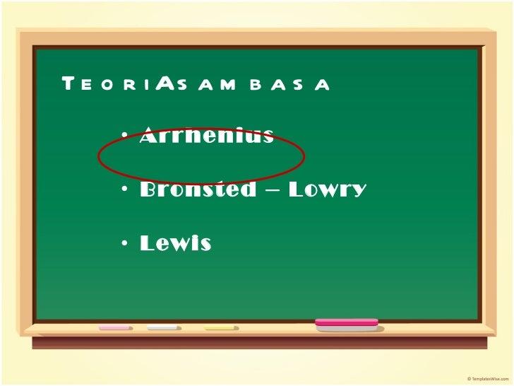 Teori Asam basa <ul><li>Arrhenius </li></ul><ul><li>Bronsted – Lowry </li></ul><ul><li>Lewis </li></ul>