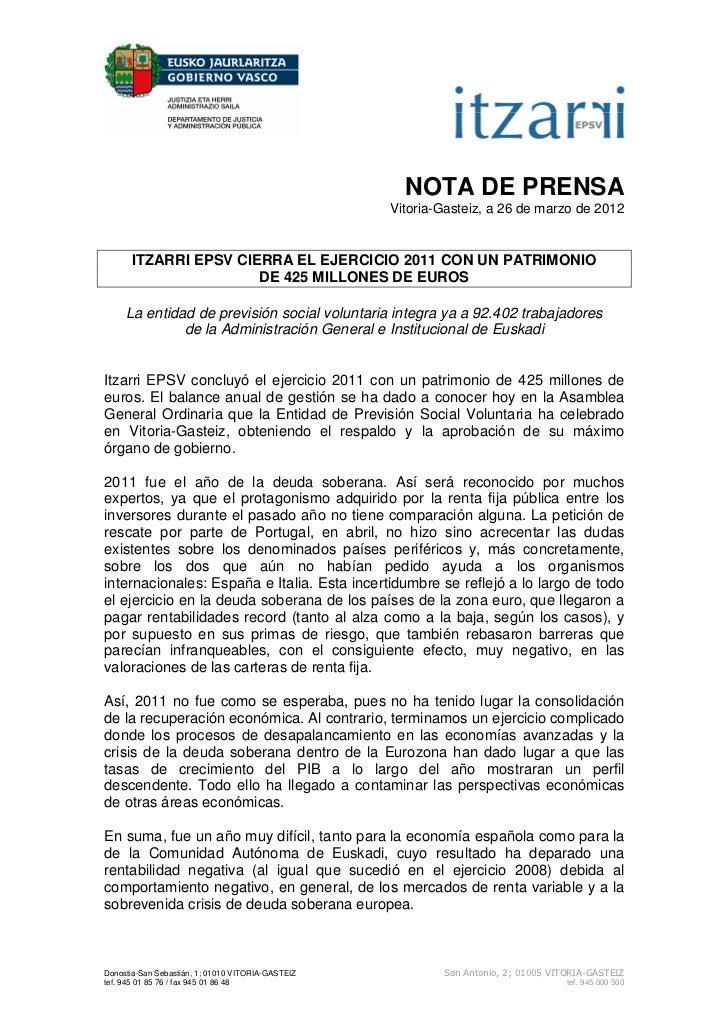 NOTA DE PRENSA                                                   Vitoria-Gasteiz, a 26 de marzo de 2012      ITZARRI EPSV ...