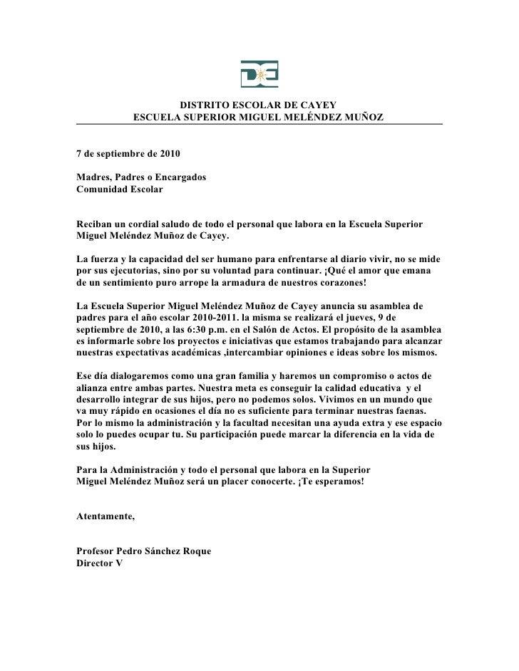 DISTRITO ESCOLAR DE CAYEY              ESCUELA SUPERIOR MIGUEL MELÉNDEZ MUÑOZ   7 de septiembre de 2010  Madres, Padres o ...