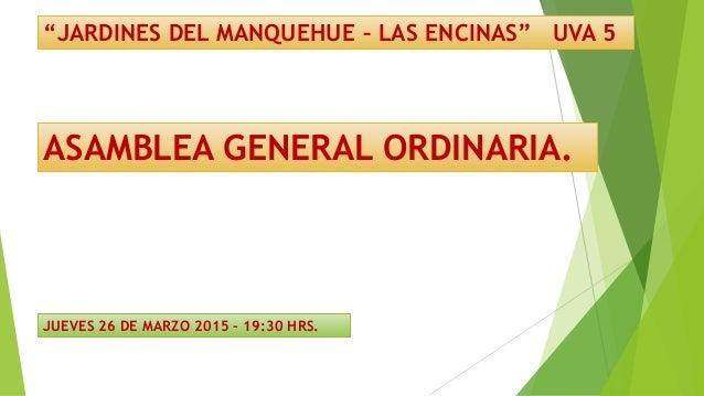 """""""JARDINES DEL MANQUEHUE – LAS ENCINAS"""" UVA 5 ASAMBLEA GENERAL ORDINARIA. JUEVES 26 DE MARZO 2015 – 19:30 HRS."""