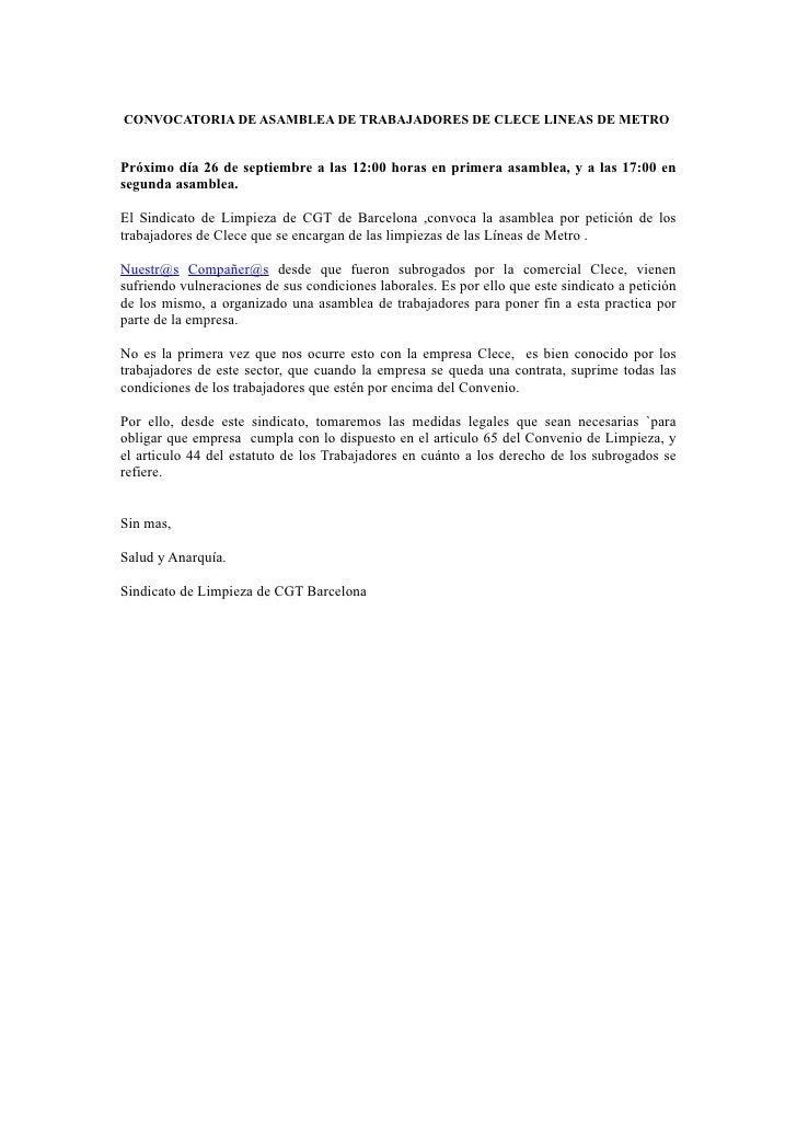 CONVOCATORIA DE ASAMBLEA DE TRABAJADORES DE CLECE LINEAS DE METROPróximo día 26 de septiembre a las 12:00 horas en primera...