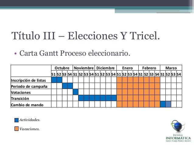 • Carta Gantt Proceso eleccionario.Título III – Elecciones Y Tricel.Octubre Noviembre Diciembre Enero Febrero MarzoS1 S2 S...