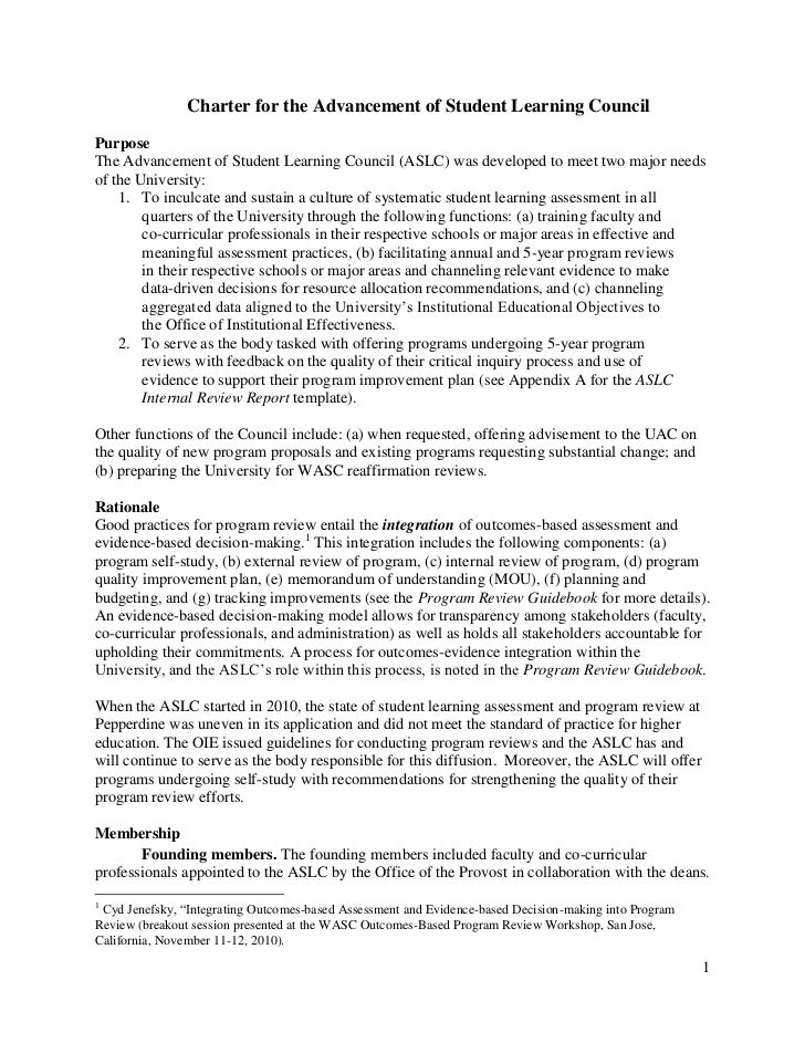 Charter for the Advancement of Student Learning CouncilPurposeThe Advancement of Student Learning Council (ASLC) was devel...