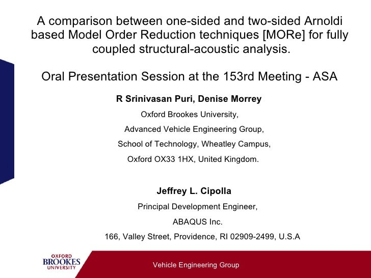 A comparison between one-sided and two-sided Arnoldi based Model Order Reduction techniques [MORe] for fully           cou...