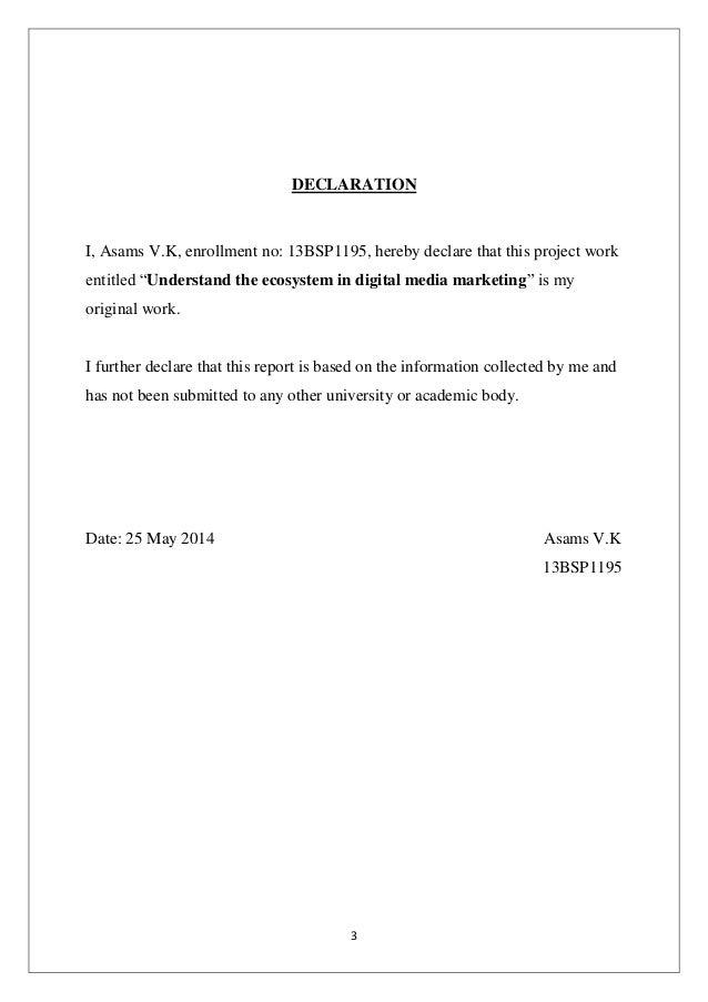 Project Report on Digital Media Marketing  Slide 3