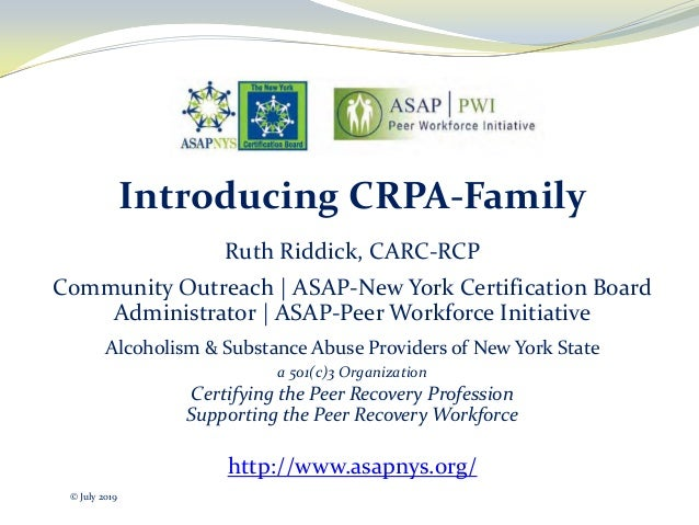 Introducing CRPA-Family Ruth Riddick, CARC-RCP Community Outreach | ASAP-New York Certification Board Administrator | ASAP...