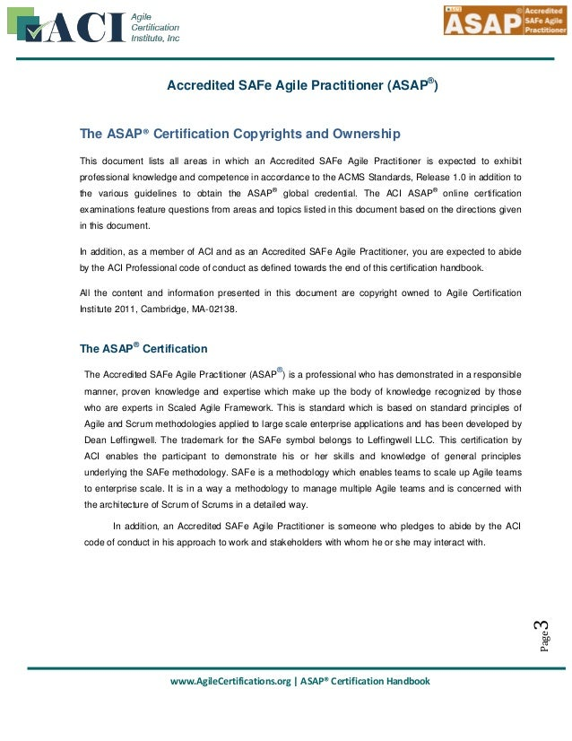 Accredited Safe Agile Practitioner Asap Handbook