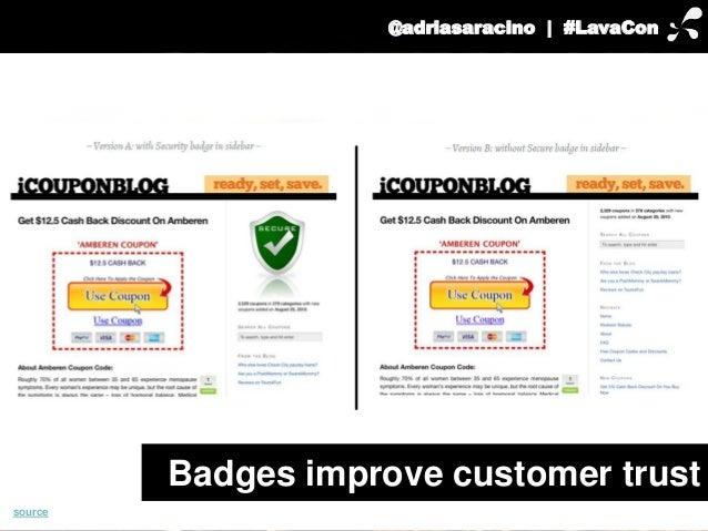 @adriasaracino | #LavaCon  Badges improve customer trust  source