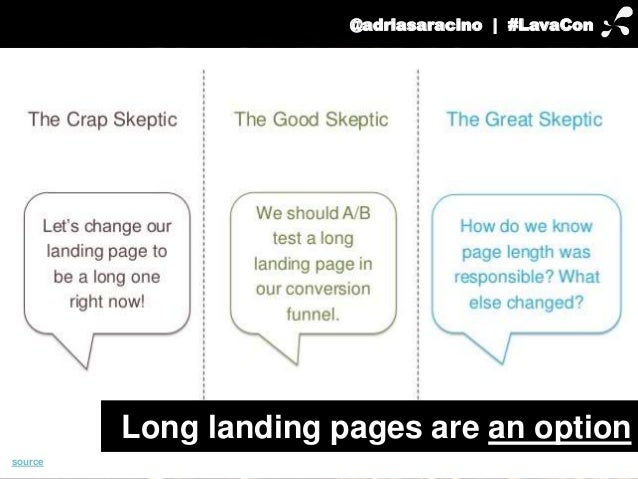 @adriasaracino | #LavaCon  Long landing pages are an option  source