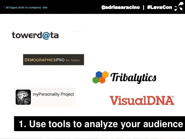 * all logos click to company site @adriasaracino | #LavaCon  1. Use tools to analyze your audience