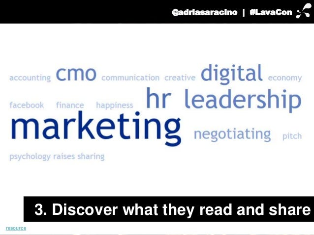 @adriasaracino | #LavaCon  resource  3. Discover what they read and share