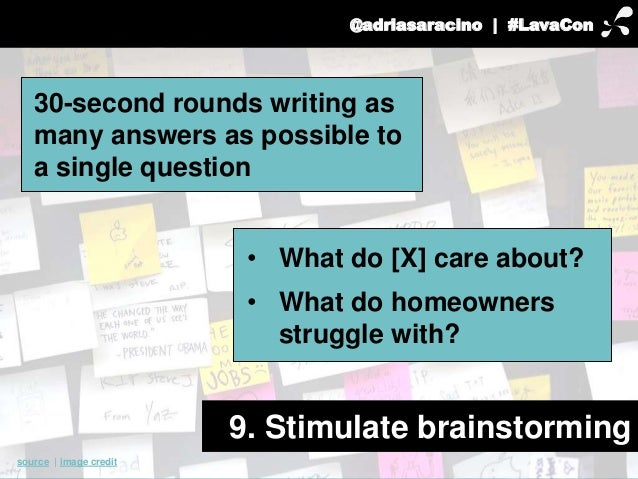 @adriasaracino | #LavaCon  30-second rounds writing as  many answers as possible to  a single question  9. Stimulate brain...