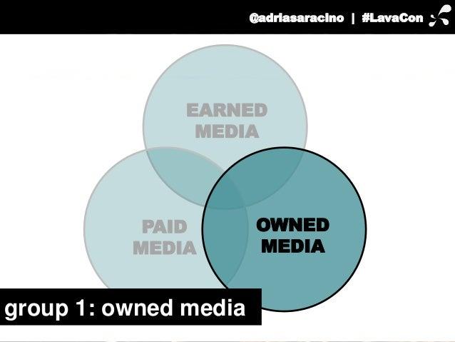 @adriasaracino | #LavaCon  EARNED  OWNED  MEDIA  MEDIA  PAID  MEDIA  group 1: owned media