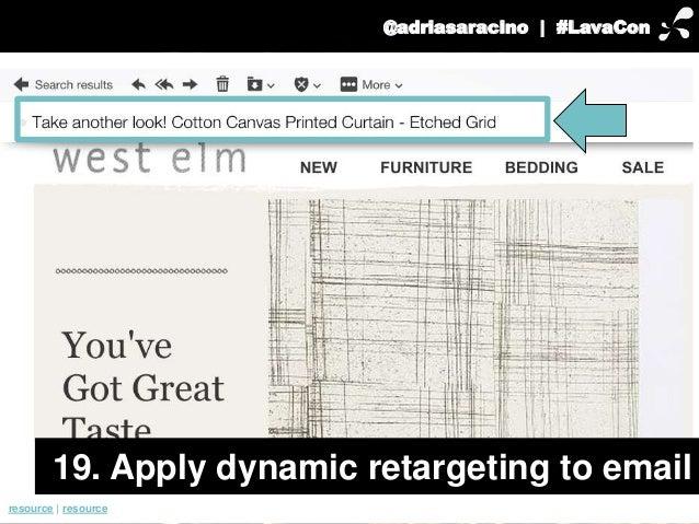 @adriasaracino | #LavaCon  19. Apply dynamic retargeting to email  resource | resource