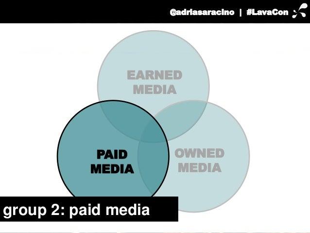 @adriasaracino | #LavaCon  EARNED  OWNED  MEDIA  MEDIA  PAID  MEDIA  group 2: paid media
