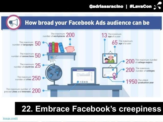 @adriasaracino | #LavaCon  image credit  22. Embrace Facebook's creepiness