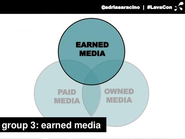 @adriasaracino | #LavaCon  EARNED  OWNED  MEDIA  MEDIA  PAID  MEDIA  group 3: earned media