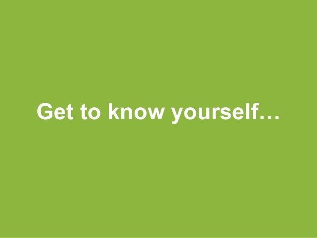 Get to know yourself…