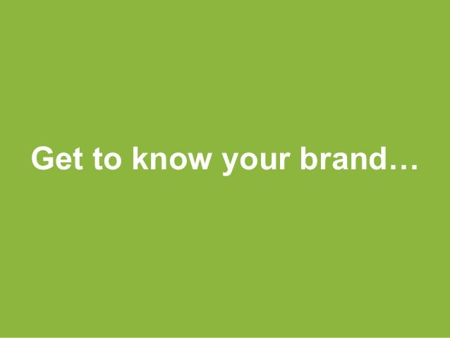 Get to know your brand…