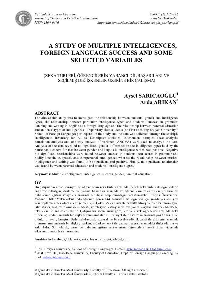 Eğitimde Kuram ve Uygulama                                                      2009, 5 (2):110-122Journal of Theory and P...