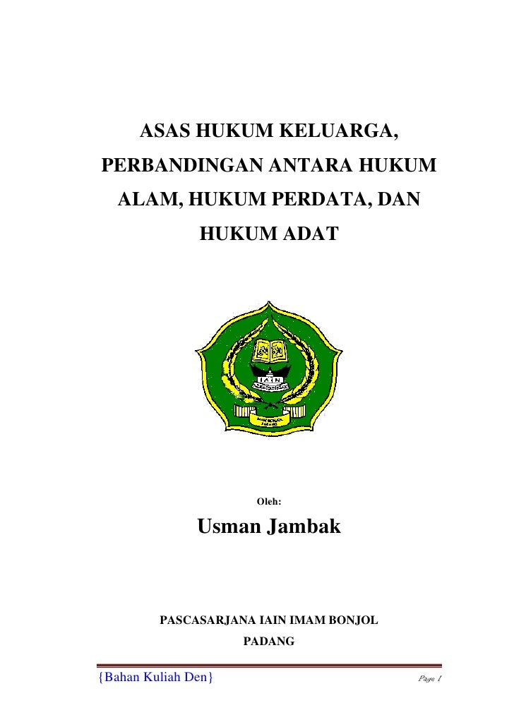 Asas Hukum Keluarga Usman Jambak