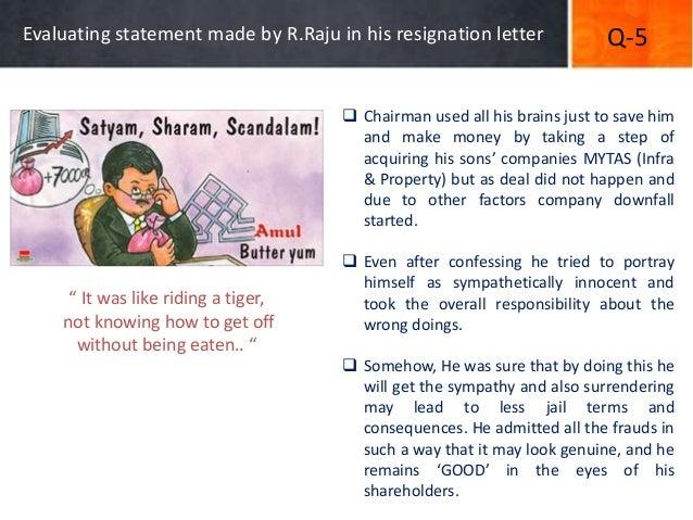 ASatyam Key Facts and Unheard Answers – Ramalinga Raju Resignation Letter