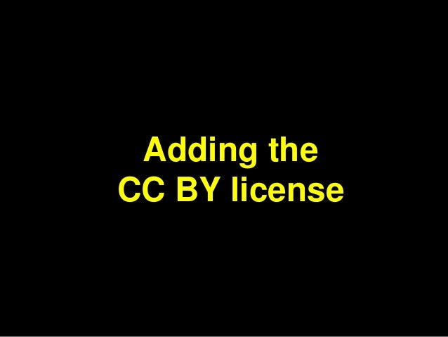 Adding the  CC BY license