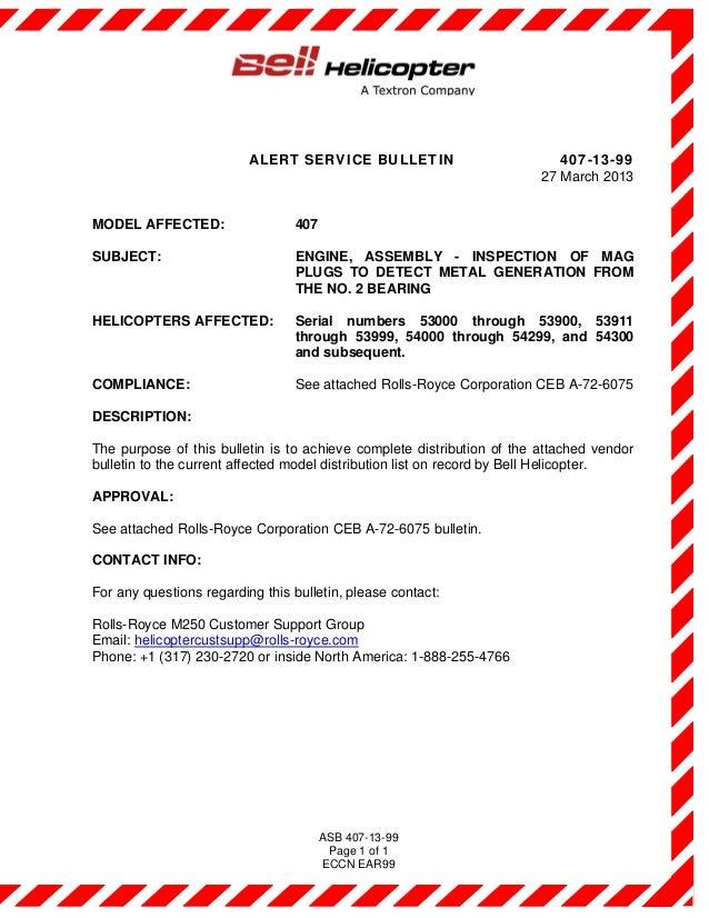 Alert Service Bulletin - Asb 407-13-99