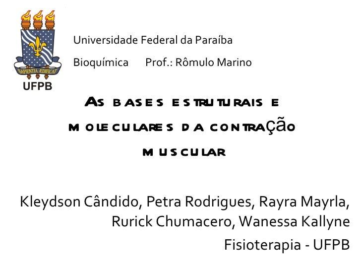 As bases estruturais e moleculares da contração muscular Kleydson Cândido, Petra Rodrigues, Rayra Mayrla, Rurick Chumacero...