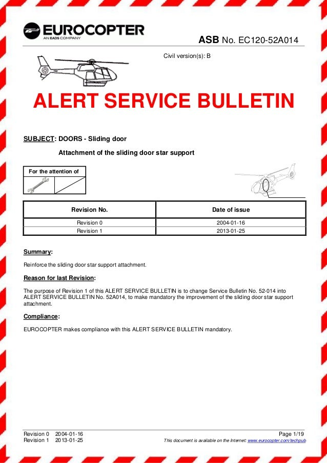 asb n ec120 52a014 alert service bulltin subject doors slidi rh slideshare net service bulletins vs ad service bulletins database