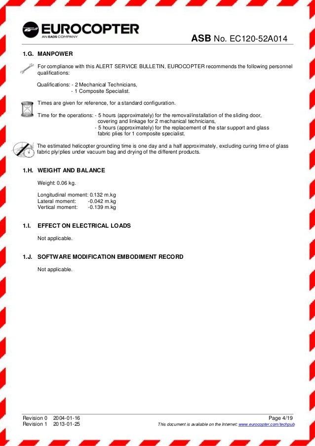 Asb N 186 Ec120 52a014 Alert Service Bulltin Subject