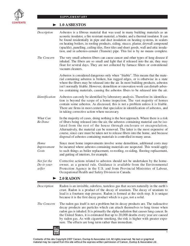 SUPPLEMENTARYCONTENTS                                  1.0 ASBESTOS              Description         Asbestos is a fibrous...