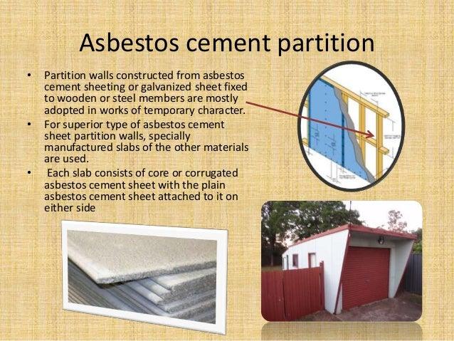 Asbestos cement partition