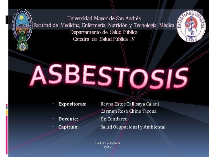 Universidad Mayor de San AndrésFacultad de Medicina, Enfermería, Nutrición y Tecnología Médica               Departamento ...