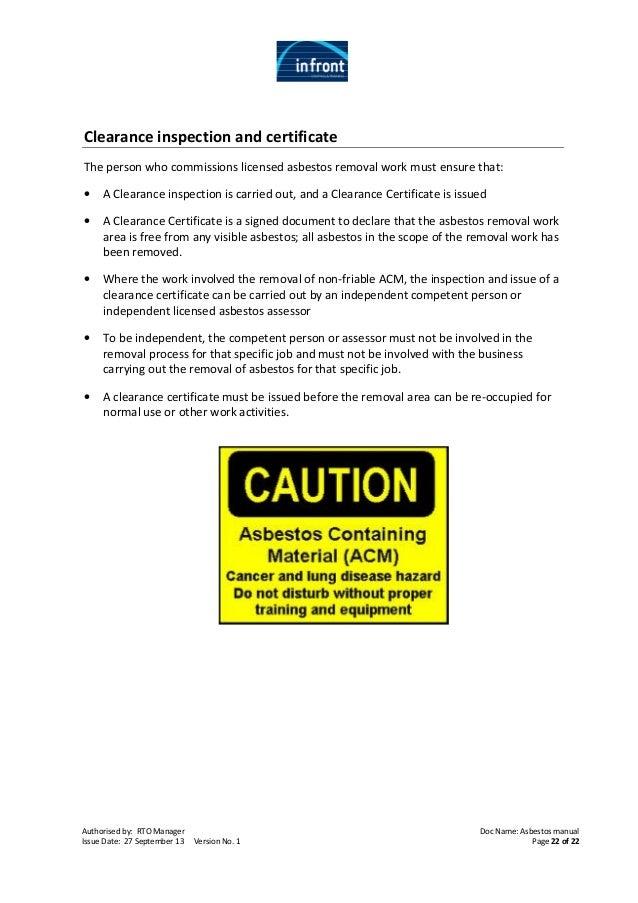 asbestos clearance certificate Asbestos workbook