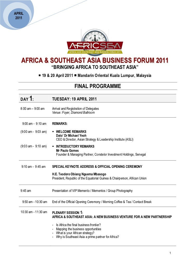 """APRIL 2011   AFRICA & SOUTHEAST ASIA BUSINESS FORUM 2011                         """"BRINGING AFRICA TO SOUTHEAST ASIA""""      ..."""