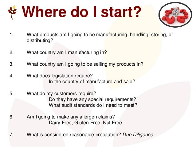Where do I start? 1. What products am I going to be manufacturing, handling, storing, or distributing? 2. What country am ...