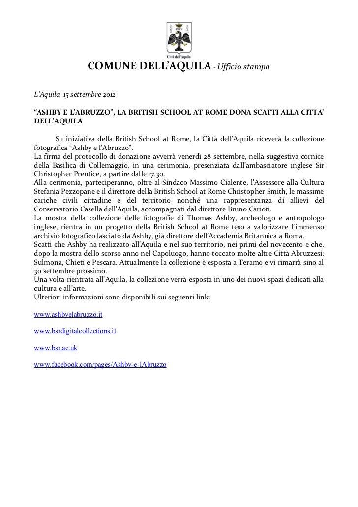 """COMUNE DELL'AQUILA - Ufficio stampaL'Aquila, 15 settembre 2012""""ASHBY E L'ABRUZZO"""", LA BRITISH SCHOOL AT ROME DONA SCATTI A..."""
